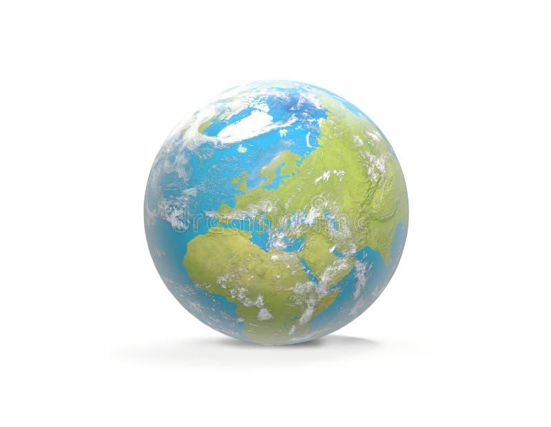 Aarde met wolken, Europa en een deel van 3D- Azië en Afrika royalty-vrije illustratie