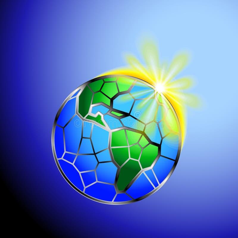 Aarde met zon stock afbeelding