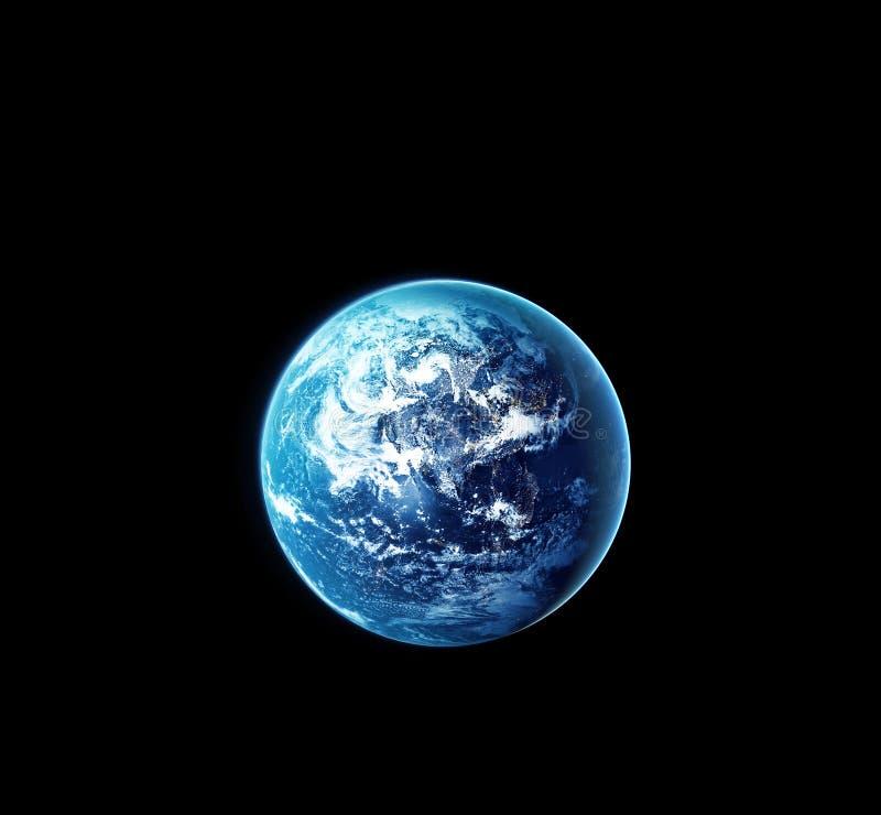 Aarde met zon die van ruimte bij nacht toenemen stock fotografie