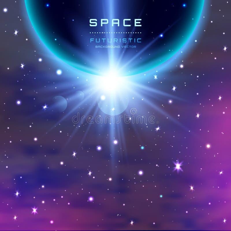 Aarde met zonsopgang in ruimte met melkachtige manier, nevel, stardust en heldere glanzende sterren Vectorillustratie voor royalty-vrije illustratie