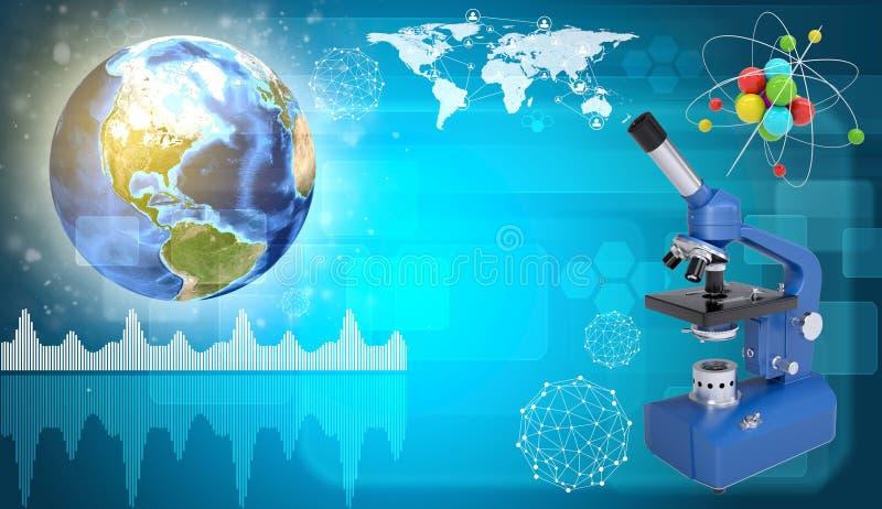 Aarde, microscoop en model van molecule wetenschap vector illustratie
