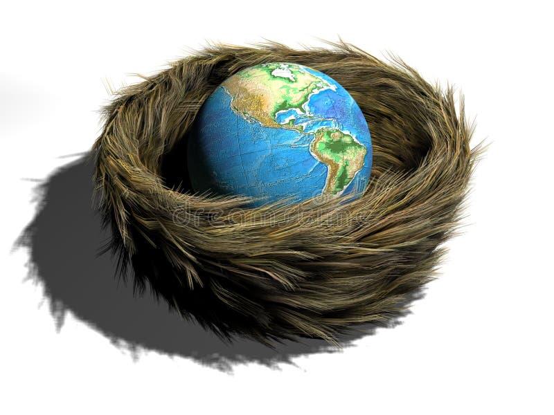 Aarde in nest stock illustratie