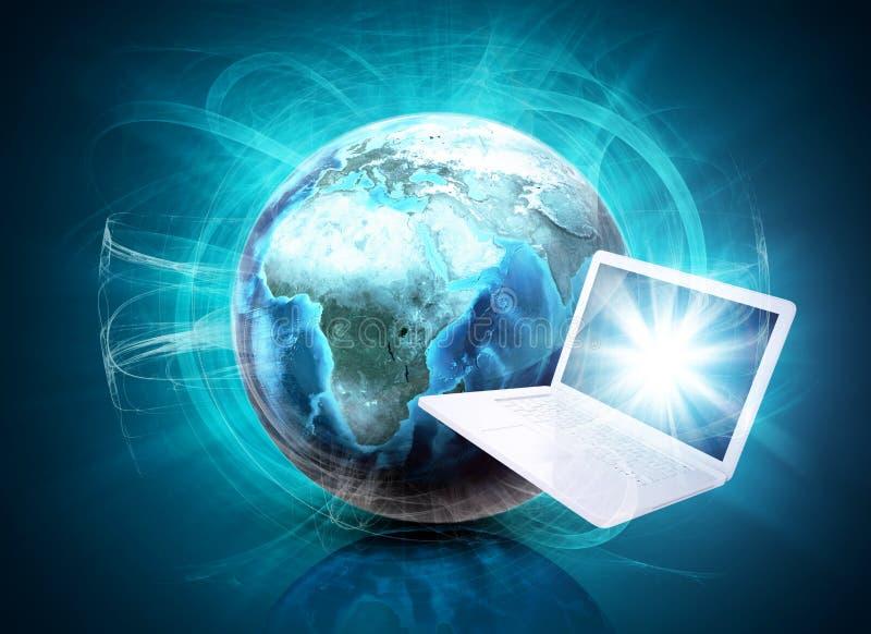 Aarde in nevel en laptop op abstracte achtergrond vector illustratie
