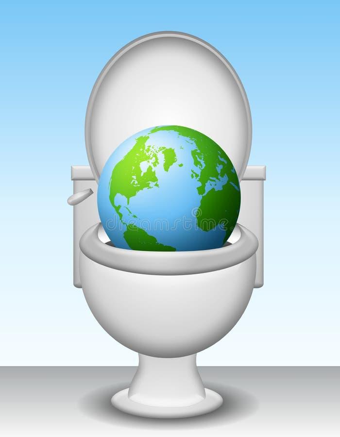 Aarde onderaan het Toilet vector illustratie