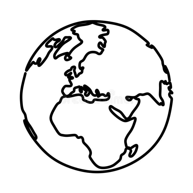 aarde ononderbroken vector de illustratie minimalistisch ontwerp van de lijntekening vector illustratie