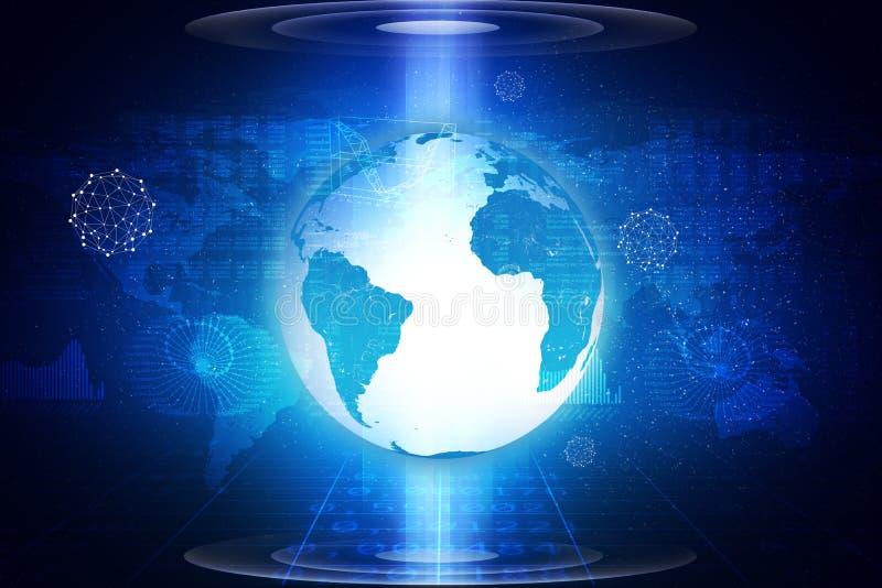 Aarde op abstracte blauwe achtergrond royalty-vrije stock afbeeldingen