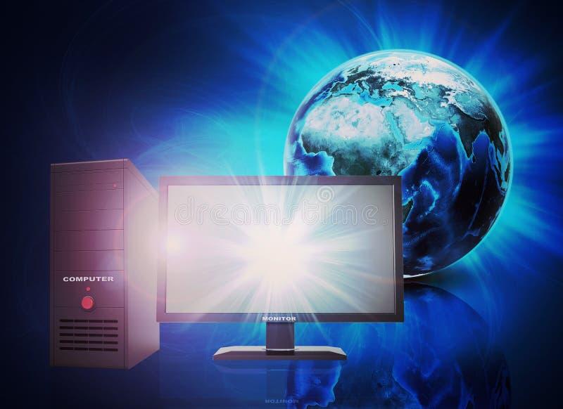 Aarde op abstracte blauwe achtergrond met PC-computer royalty-vrije illustratie