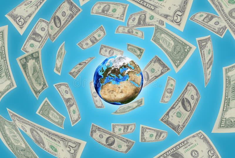 Aarde op blauwe achtergrond. Geld die rond vallen royalty-vrije illustratie