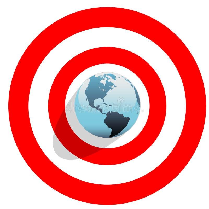 Aarde op centrum van stierenoog op rood werelddoel stock illustratie