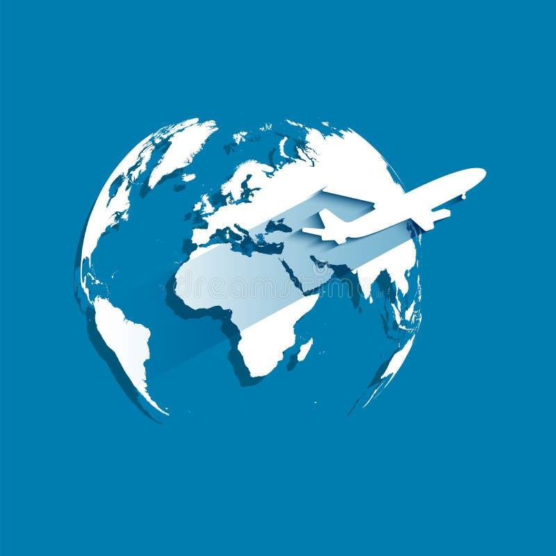 Aarde op donkerblauwe achtergrond met omhoog het vliegen van wit vliegtuig Vectorillustratie in papier-besnoeiing stijlontwerp royalty-vrije illustratie