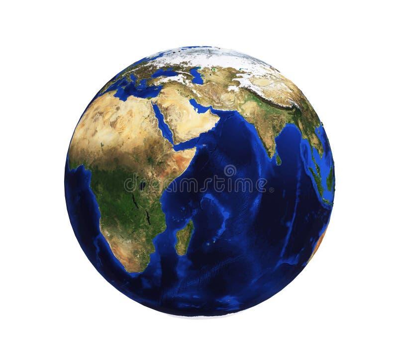 Aarde op een witte achtergrond zonder wolken met 3D hulp stock illustratie