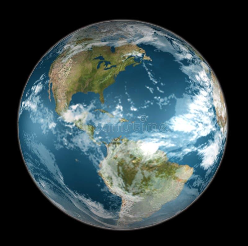 Aarde op zwarte stock illustratie