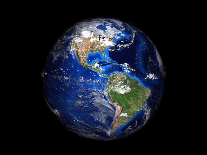 Aarde op zwarte mening als achtergrond van ruimte 3d vector illustratie