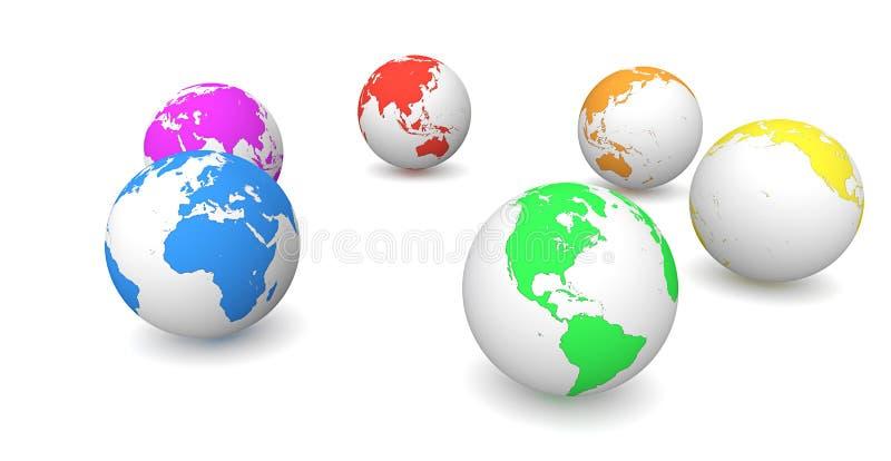 Aarde: Roterende Aarde in Diverse Kleuren vector illustratie