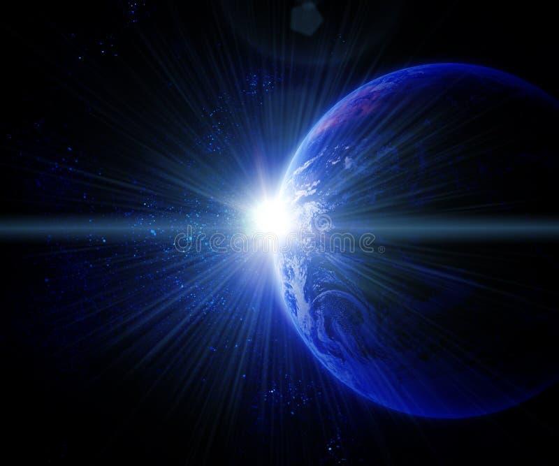 Aarde tegen de zon in ruimte vector illustratie