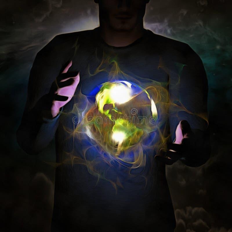 Aarde tussen de handen van mensen stock illustratie