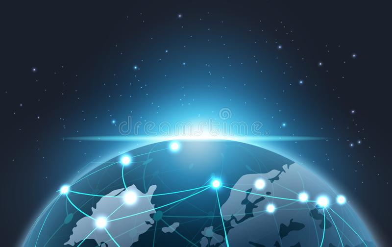 Aarde van Blockchain-technologieconcept, de schreeuw van gegevensbestandgegevens royalty-vrije illustratie