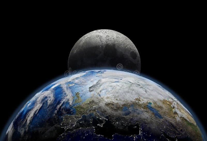 Aarde van de planeet dicht bij zonsopgang, stadslichten en maan stock foto's