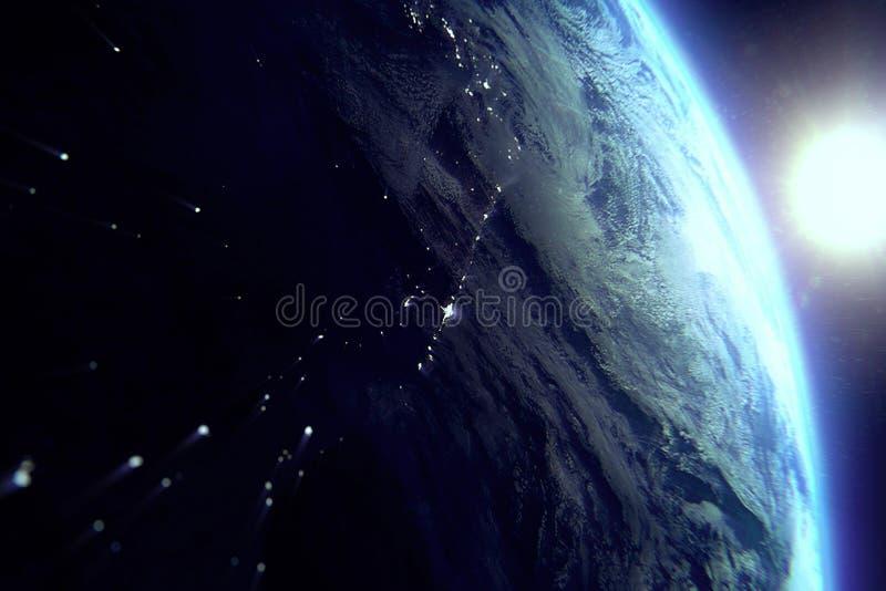 Aarde van de ruimte bij nacht met zon dichtbij royalty-vrije illustratie