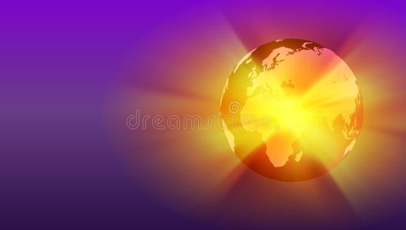 Aarde van de wereld de transparante bol op computertoetsenbord Globaal communicatie bedrijfsconcept Ultraviolet gekleurd Beeld Kl vector illustratie