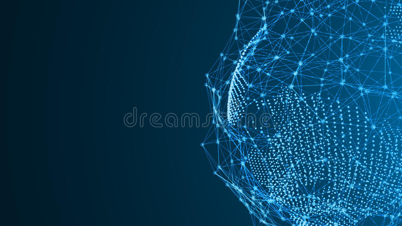Aarde van deeltjes met een abstracte verbinding Een digitaal netwerkverbinding stock illustratie