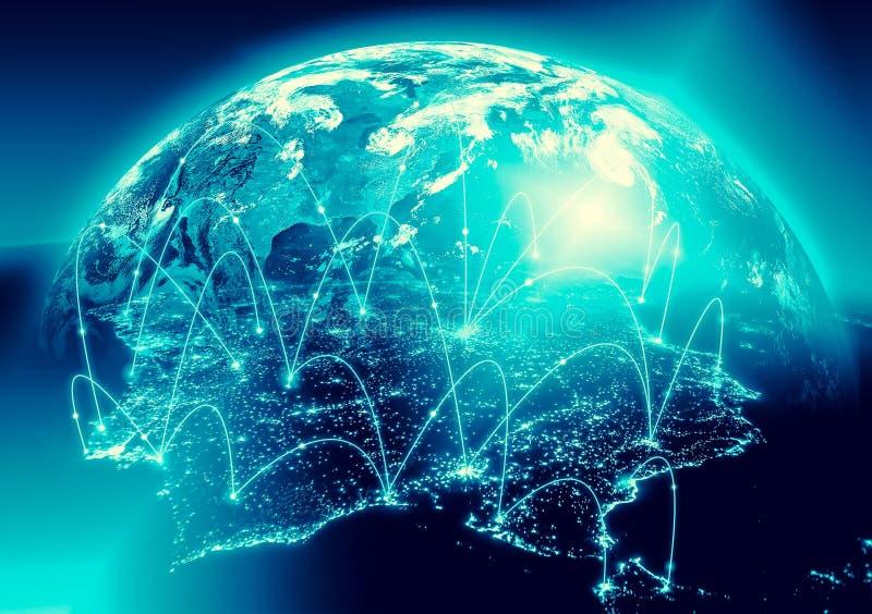Aarde van Ruimte Het beste Concept van Internet globale zaken van conceptenreeks Elementen van dit langs geleverde beeld stock foto