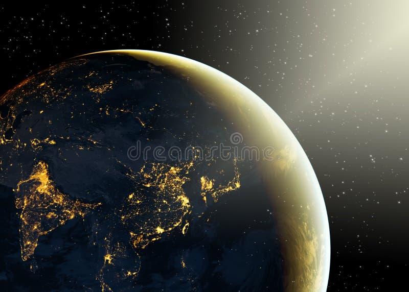 Aarde van Ruimte Het beste Concept van Internet globale zaken van conceptenreeks Elementen van dit langs geleverde beeld stock illustratie