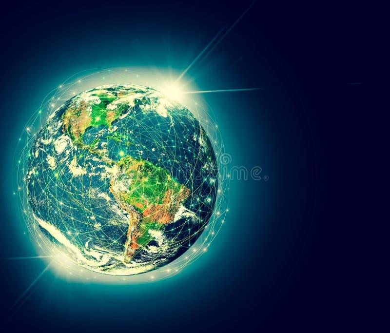 Aarde van Ruimte Het beste Concept van Internet globale zaken Elementen van dit die beeld door NASA wordt geleverd 3D Illustratie royalty-vrije illustratie