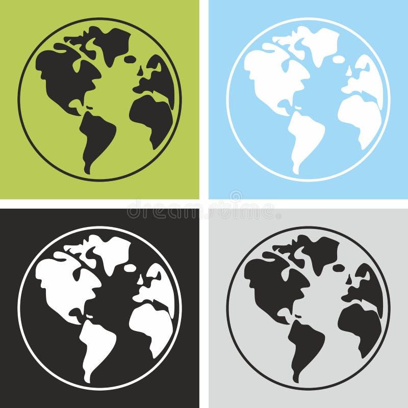 Aarde vectordieteken op witte achtergrond wordt geïsoleerd stock illustratie