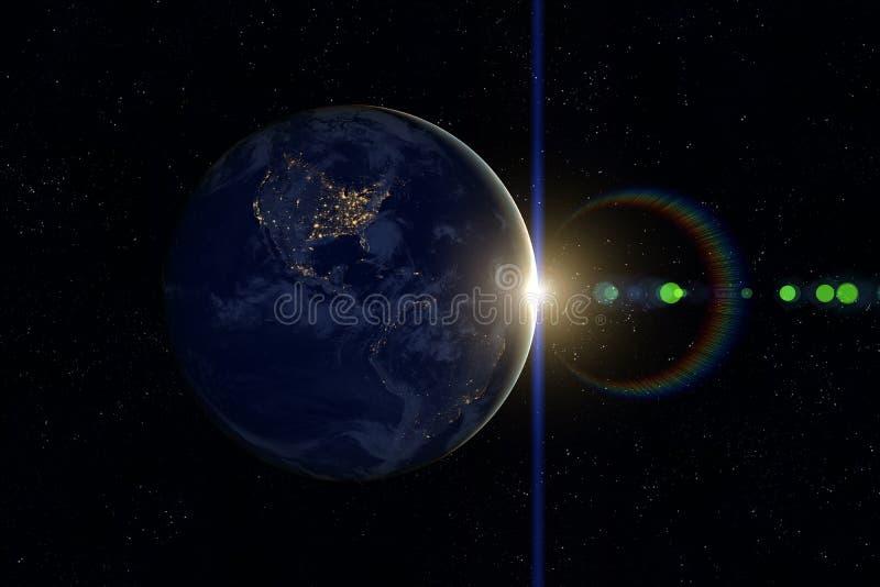 Aarde, Zon, Ruimte Zonsondergang royalty-vrije stock afbeeldingen