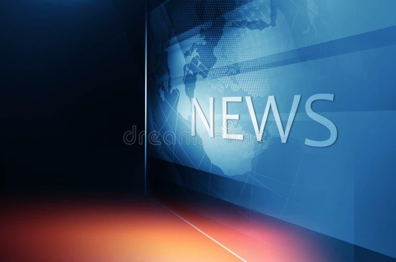 Aardebol binnen het Grote Vlakke TV-Scherm met het Concept van de Nieuwstekst vector illustratie