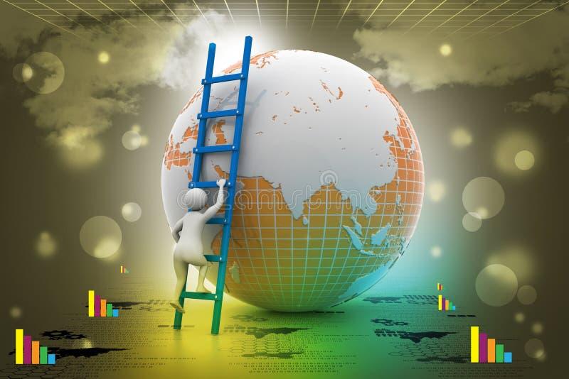 Aardebol en ladder royalty-vrije illustratie