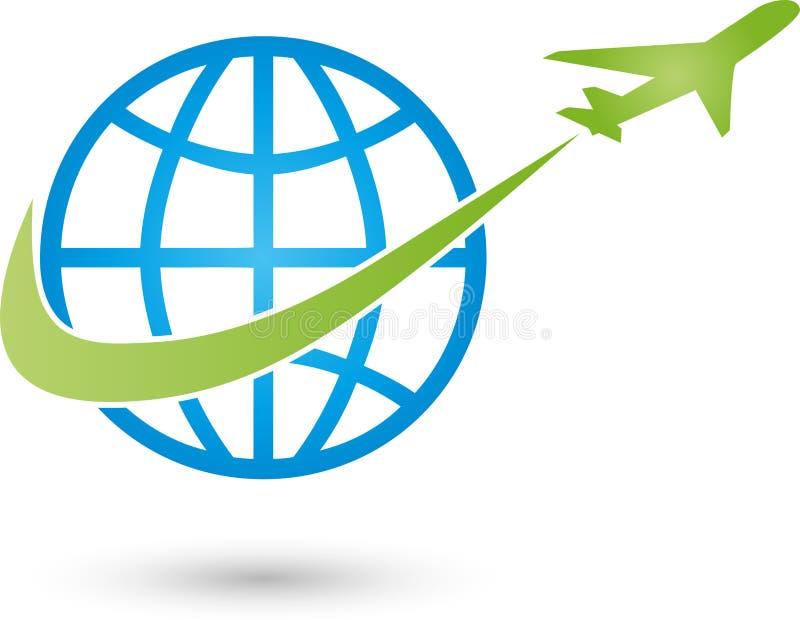 Aardebol en vliegtuig, vervoer en bedrijfsembleem stock illustratie