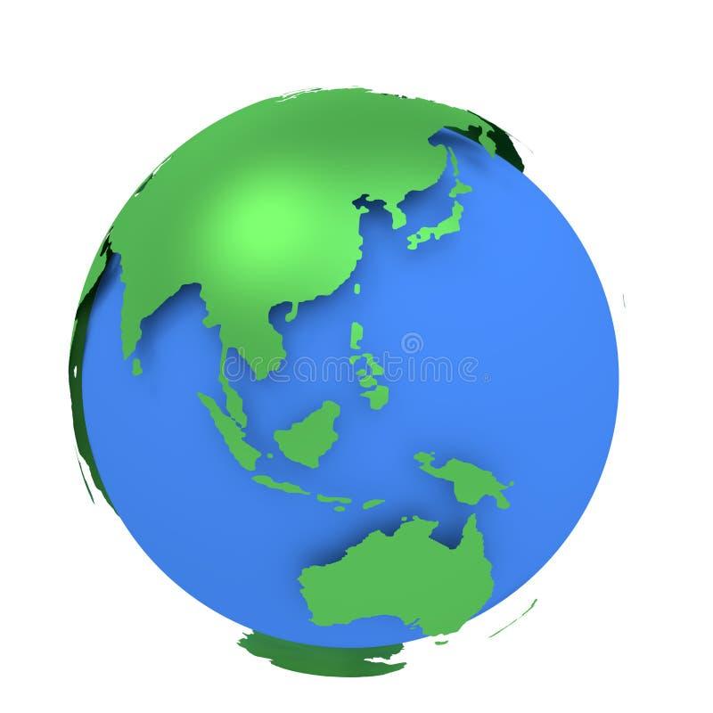Aardebol met groene die continenten op witte achtergrond worden geïsoleerd De kaart van de wereld 3d teruggevende illustratie royalty-vrije illustratie