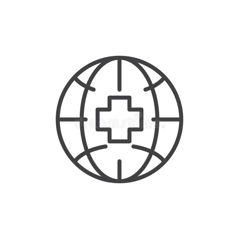 Aardebol met medisch dwarsoverzichtspictogram stock illustratie