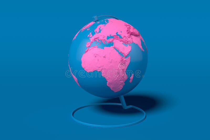 Aardebol met roze die continenten op blauwe achtergrond worden geïsoleerd het 3d teruggeven kaart door NASA wordt verstrekt die royalty-vrije illustratie