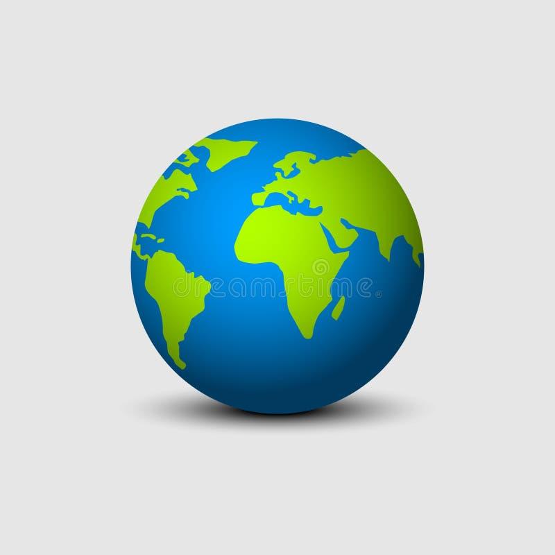 Aardebol met schaduw in vlak ontwerp wordt geïsoleerd dat De groene en blauwe kleuren van de aardebol De cirkel van de aardekaart stock illustratie