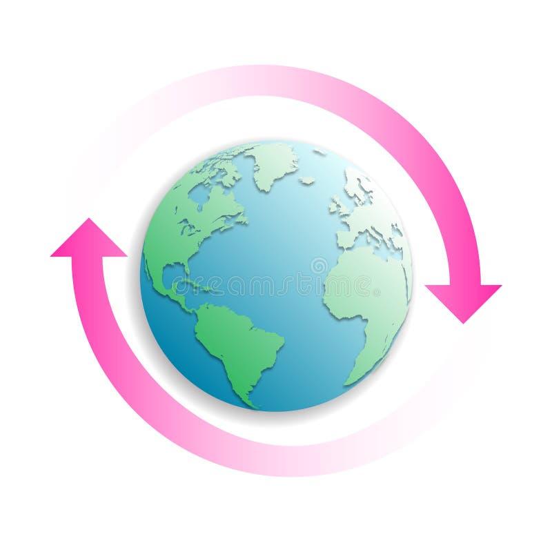 Aardebol met twee roze pijlen stock illustratie