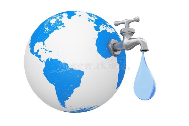 Aardebol met Waterkraan en Waterdaling het 3d teruggeven royalty-vrije illustratie