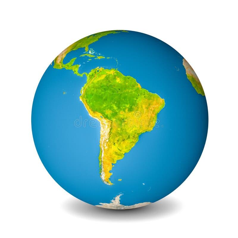 Aardebol op whitebackground wordt geïsoleerd die De satellietmening concentreerde zich op Zuid-Amerika Elementen van dit langs ge royalty-vrije stock afbeeldingen