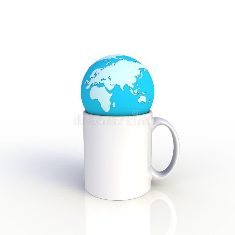 Aardebol op witte die koffiekop op witte achtergrond wordt geïsoleerd Spot op Malplaatje voor toepassingsontwerp De apparatuur va stock illustratie
