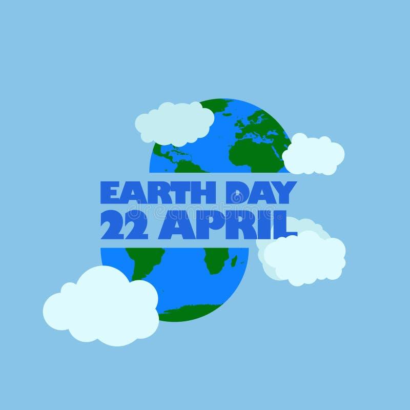 Aardedag 22 april-heeft de typografie bij de bodem en hierboven aarde met wolk gelukkige aardedag, 22 april het embleem van de aa stock illustratie