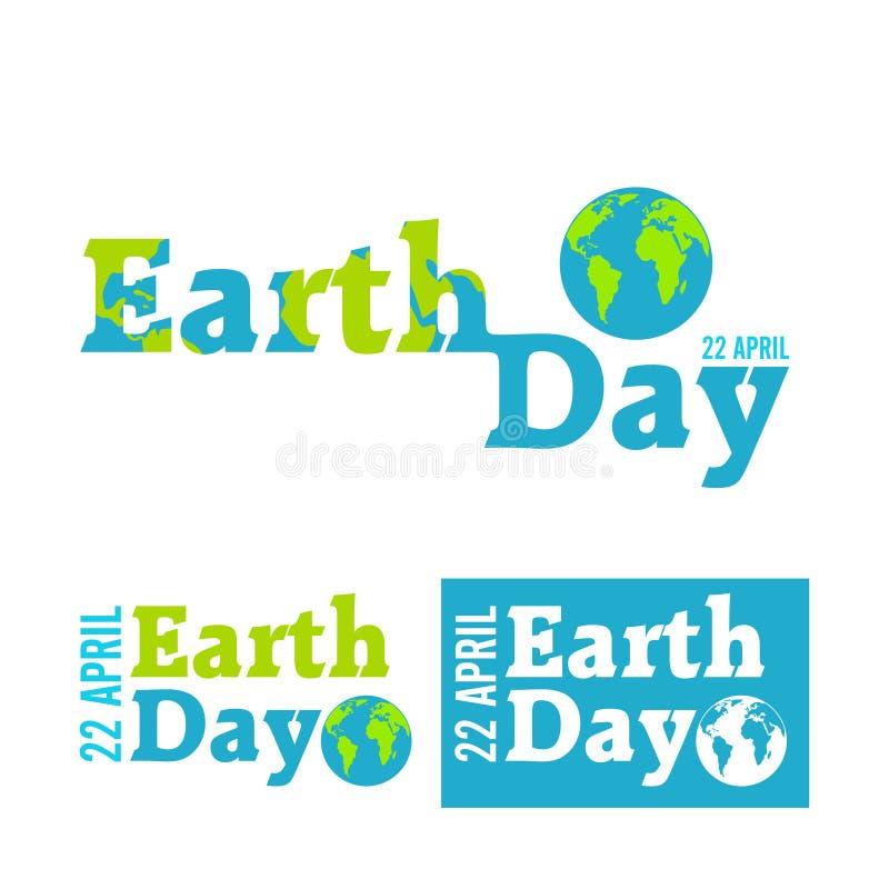 Aardedag in blauw Vector illustratie stock afbeeldingen