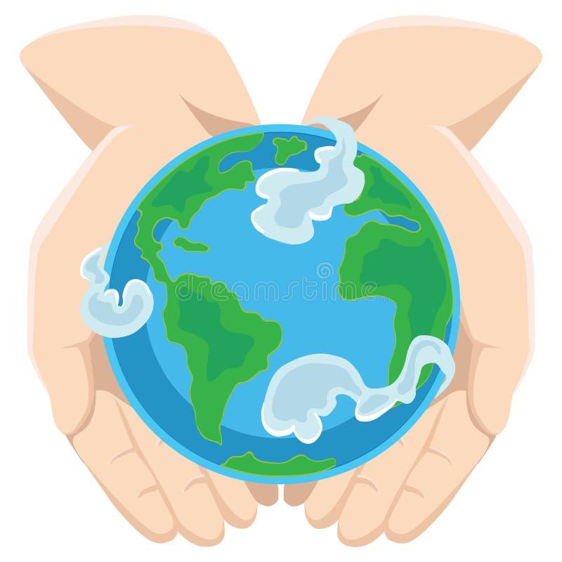 Aardedag, gelukkige die planeet door wolken in handen van de mens, bol op open palmen wordt omringd, het concept van de ecologiew vector illustratie