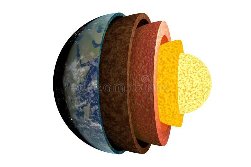 Aardelagen en structuur Geïsoleerdj op witte achtergrond 3D teruggegeven illustratie vector illustratie
