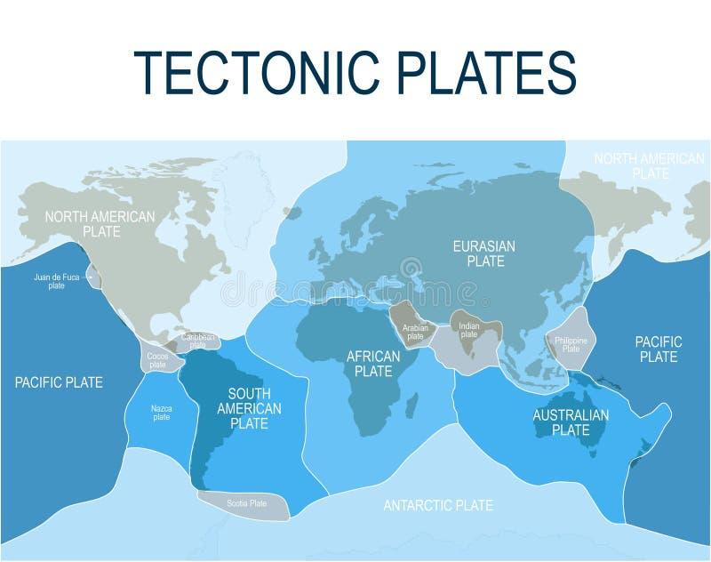 Aardelithosfeer, wetenschappelijke theorie Belangrijke hoofd en minder belangrijke platen stock illustratie