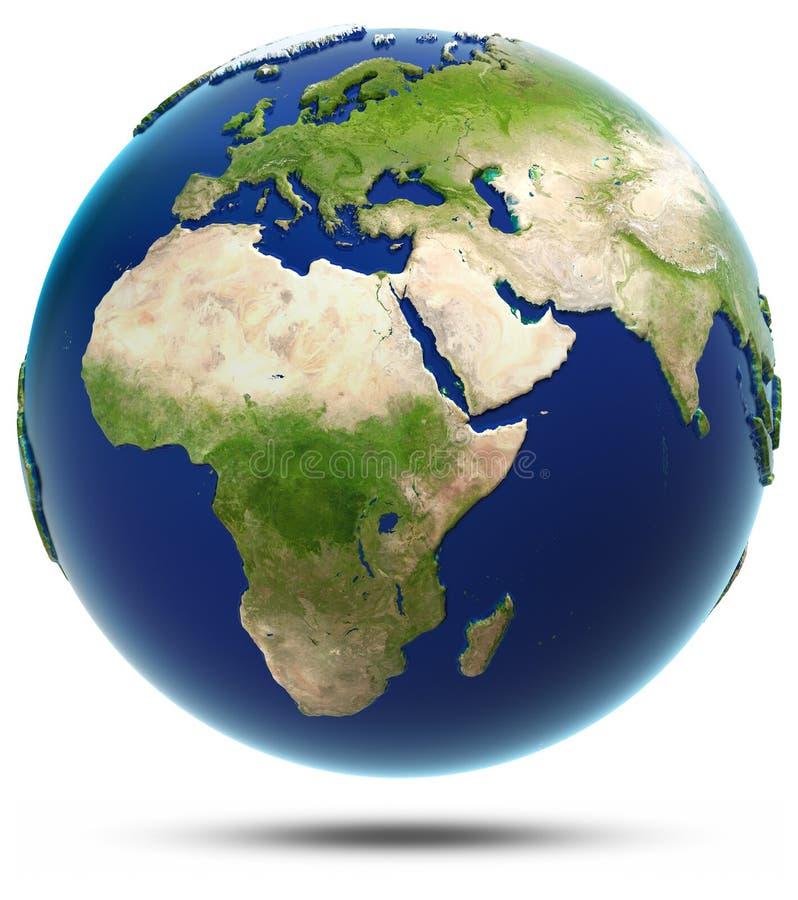 Aardemodel - Afrika en Eurasia stock illustratie