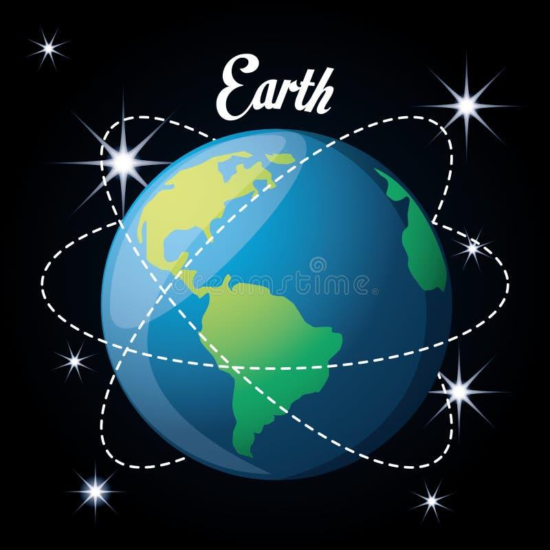 Aardeplaneet in de zonnestelselverwezenlijking vector illustratie
