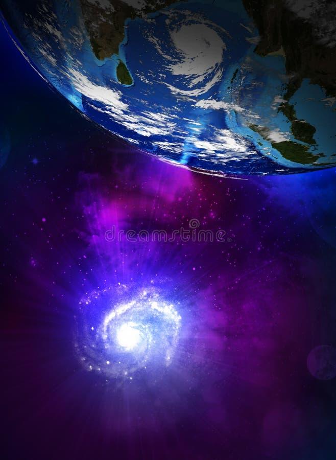 Aardeplaneet en de spiraalvormige melkweg vector illustratie