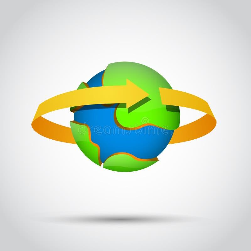 Aardeplaneet met gouden rond pijl vector illustratie